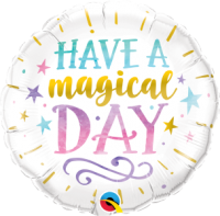 "Folie ballon wit wens met opdruk ""Have a Magical Day"" (46 cm)"