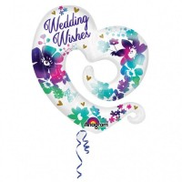Folieballon wit bruiloft ''WeddingWishes'' hart
