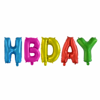 Folieballonnen set ''HBDAY'' letters (41 cm)