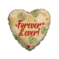 "Folieballon ECO ONE hart beige ""Forever and ever"" (45cm)"