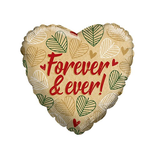 """Folieballon ECO ONE hart beige """"Forever and ever"""" (45cm)"""